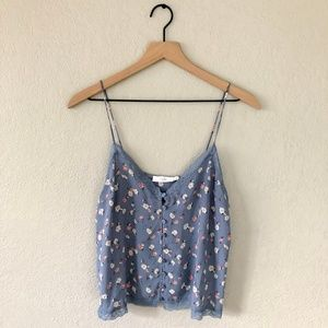 Lush Grey Silky Floral Lace Tank Cami